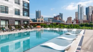glasshouse pool pittsburgh skyline